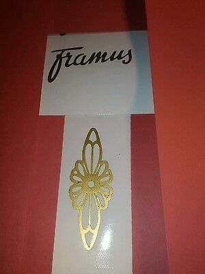 (2) FRAMUS  neck/body decals, framus & flower    gold self adhesive vinyl