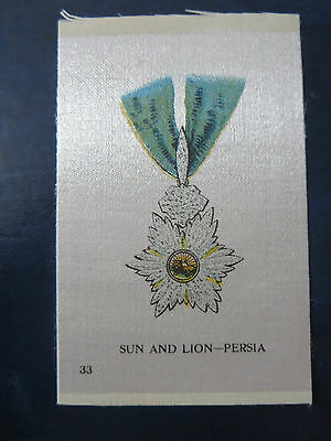 """Imperial Tobacco/cigarette Silks 1913  """"orders/military Medals""""  #33 Persia"""