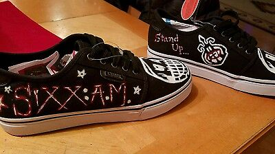 Custom, hand made, Sixx AM sneakers, hand painted, Motley Crue, Slayer, shoes.