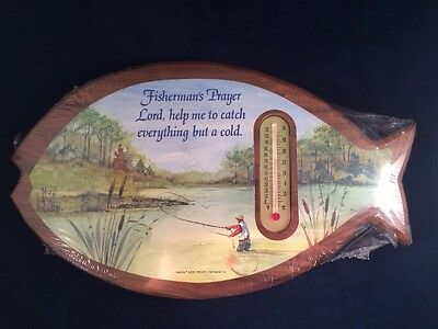 Vintage Fly Fishing Scene On Wooden Fish With Thermometer & Prayer Cabin Decor