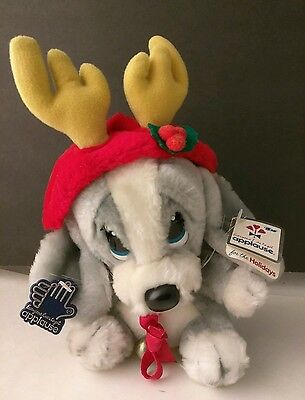 "Applause Christmas Honey Dog Plush w/ Antlers 7"" 1986"
