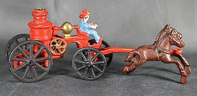 VINTAGE FIREMAN CAST IRON TOY HORSE DRAWN FIRE ENGINE TRUCK CARRIAGE WAGON 2 pc