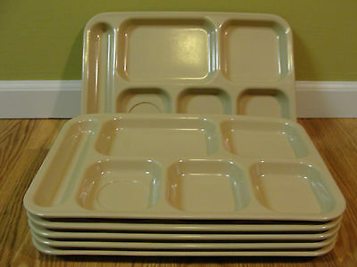Lot Of 6 Dallas Ware 6 Compartment Cafeteria Lunch TV Food Tray Almond  P-71