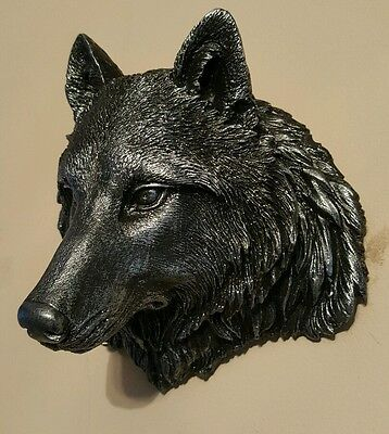Timber Wolf Wall Plaque Hanging Figurine Home or garden waterproof/ black silver
