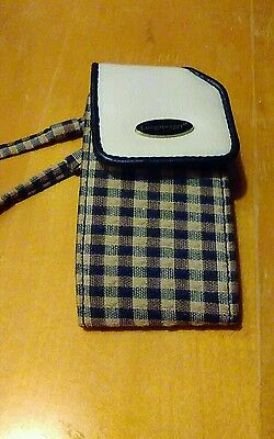 Longaberger Homestead Cell Phone Case Holder with Wristlet and clip, plaid - EUC