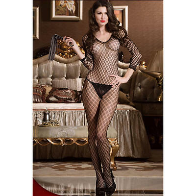 Ladies Black Strappy Lace Patterned Bodystocking Lingerie Fishnet night hot wear