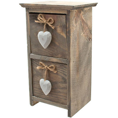 Mini Wooden Hand Crafted Trinket Small Table Top Storage Drawers White Hearts
