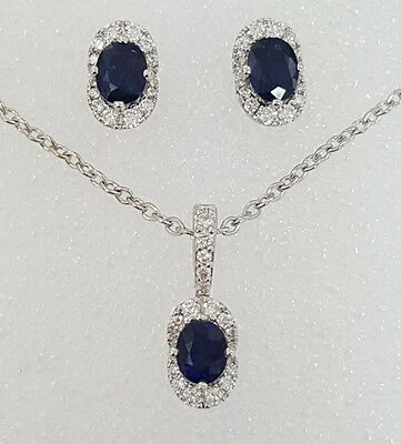 1.69 ct 14K White Gold Round Cut Diamond & Sapphire Halo Earrings & Necklace Set