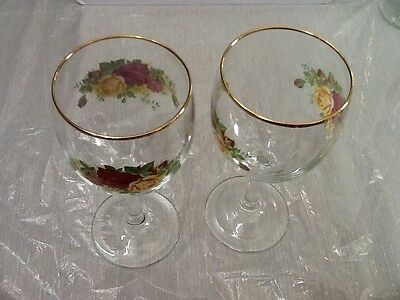 Royal Albert Old Country Roses Wine Goblets Glasses (2)  7 1/2""