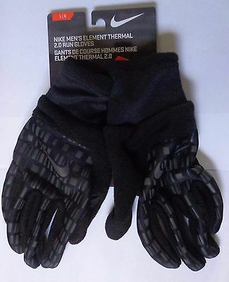 Nike Men's Element Thermal 2.0 Run Gloves Black/Ridescent/Silver Large New