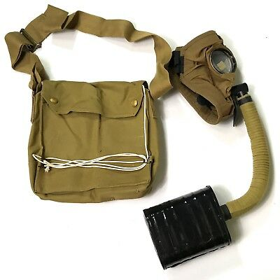 Wwi Wwii British Common Wealth Infantry Sbr Gas Mask & Carry Bag