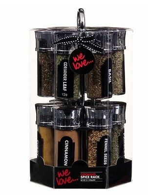 New Revolving Spice Rack Storage Stand 12 Spices Herbs With Chrome Holder
