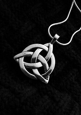 Celtic Irish Trinity Knot Pendant Necklace on 18K White Gold Filled Chain