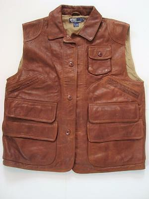Vintage Polo Ralph Lauren Men's Leather Hunting Vest Size L Large BROWN Hunters