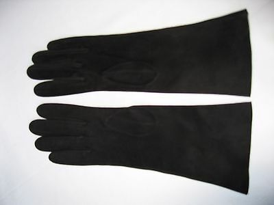 "Loewe of Spain long (11 1/4"") black kid  gloves. Size 6 3/4 (Ref 18)"