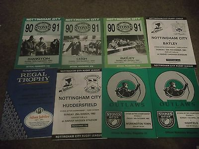 Nottingham City Outlaws Rugby League Programme Collection Homes 1990 - 1993 X 8