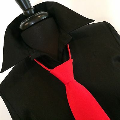 """Men's Fire Engine Red Wedding Formal Prom Ballroom Competition 20"""" Zipper Tie"""