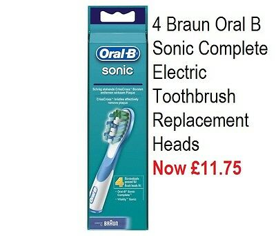 4 Braun Oral B Sonic Complete Electric Toothbrush Replacement Heads £11.75