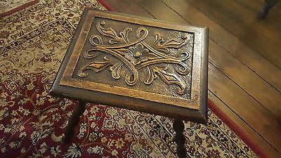 Gypsy Bobbin Table Stool Hand Carved Wood Wooden Victorian Vintage