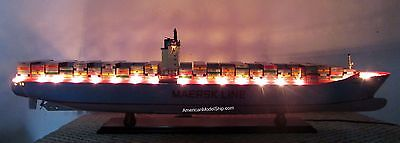 """EMMA MAERSK Container Ship Model 41"""" With LED Light - Handcrafted Wooden Model"""