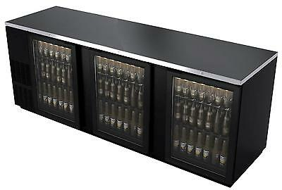 "Bk Resources 95"" Glass Back Bar Cooler W/ Black Vinyl Exterior - Bb-3G-95"
