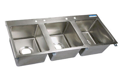 """Bk Resources 58"""" (3) 16""""x20"""" Compartment Drop-In Sink W/ Drainboards - Bk-Dis-16"""