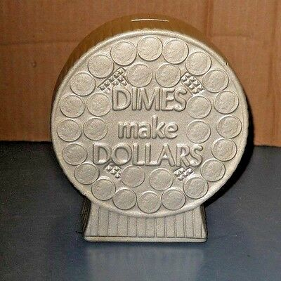 Vintage Terrace Ceramics Round Dimes Make Dollars Piggy Bank Painted Silver Usa