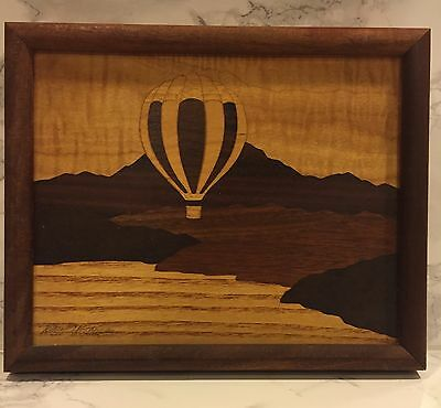 Hot Air Balloon Inlay Wood Marquetry Wall Art by Artist Robert Kitchens Signed
