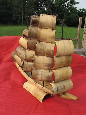 """Mother's Vintage Model Sailing Ship Sail Boat Made of Cow Horn LARGE 16"""" X 14"""""""