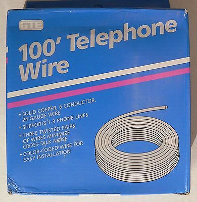 GTE 100-FT ROLL WHITE TELEPHONE WIRE 24 GA 6-CONDUCTOR 3 Twisted Pairs - 3 Lines