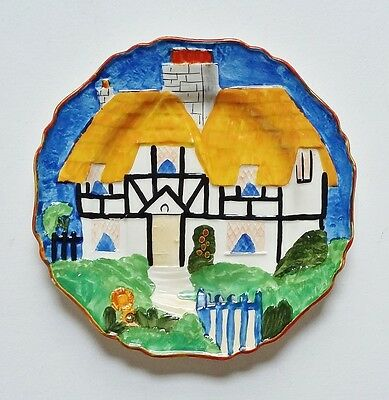 Vintage Hancock's Ivory Ware Hand Painted Plate Cottage House Art Deco 1930s