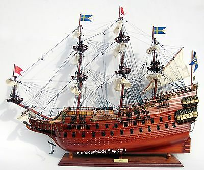 "Vasa Swedish Wasa Wooden Tall Ship Model 28"" Sailboat Built Boat New"