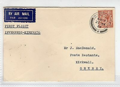 Scot - Inverness: 1934 First Flight Cover To Kirkwall (C23376)