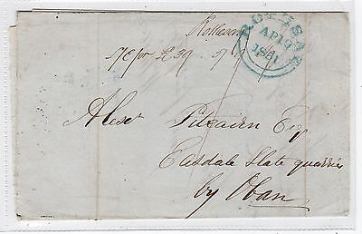 Scot - Bute: 1851 Stampless Entire From Rothesay To Oban (C23678)