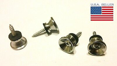 Set of 4 Chrome Guitar Strap Buttons for Fender Electric Acoustic or Bass