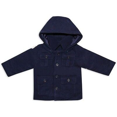 Little Gent Baby Boys Toddler Duffle Coat Winter Hooded Jacket Wool Blend Navy
