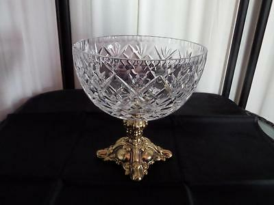 BOHEMIA  Lead Crystal CLASSIC Handcut COMPOTE with goldtone Brass Pedestal Base