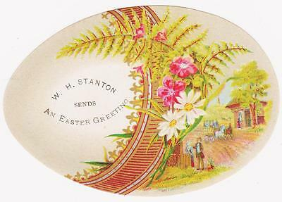 RARE 1800s EGG &VILLAGE EASTER VICTORIAN SHOE TRADE CARD WH STANTON HONESDALE PA