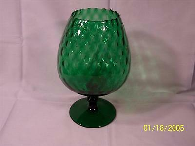 Vintage Emerald Green Footed Glass Bowl