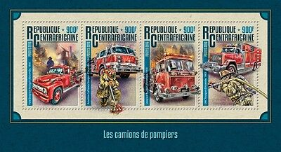 Z08 IMPERFORATED CA16211a CENTRAL AFRICA 2016 Fire trucks MNH