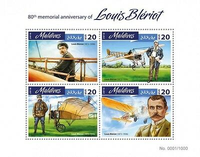 Z08 IMPERFORATED MLD16402a MALDIVES 2016 Louis Bleriot MNH