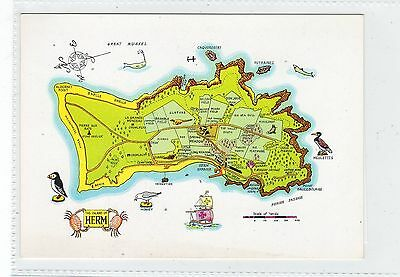 THE ISLAND OF HERM: Channel Islands map postcard (C23226)