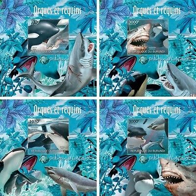 Z08 Imperforated BURdelux31 BURUNDI 2012 Orcas and sharks 4 x s/s MNH