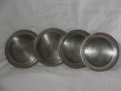 """Antique Vintage ~ Silver Plate Drink Coasters X 4 ~ """"RENOWN"""" Made in Australia"""