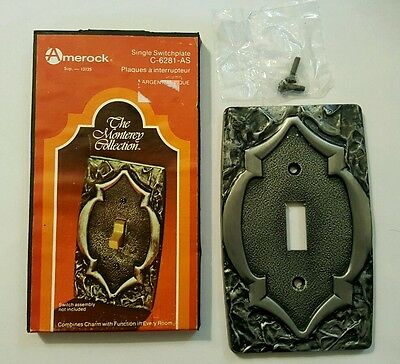 Nos Amerock Monterey Antique Silver Single Toggle Light Switch Plate Covers