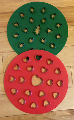 """Two 10"""" Heavy Plastic Pie Pastry Topper Cutters-Christmas Trees & Hearts Design"""