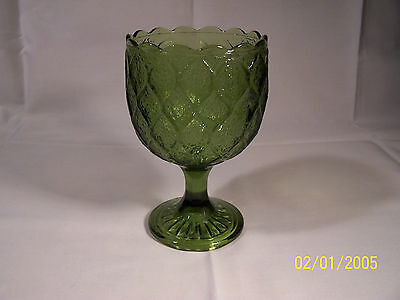 Green Footed Compote With Scalloped Edge