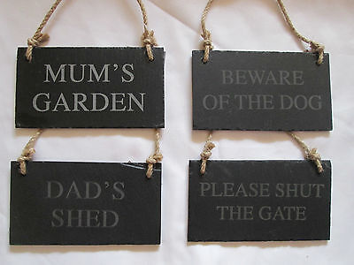 Slate Hanging Plaque Signs for Garden Shed Wall Gate Natural Rustic Choice of 4