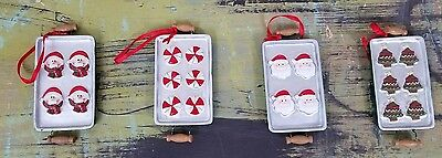 Lot of 4 Christmas Cookie Baking Sheet Ornaments Snowman Peppermints Santa Chris