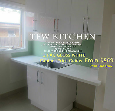Complete Laundry Cabinets+Polyurethane Gloss White Door+Kickboard for $935